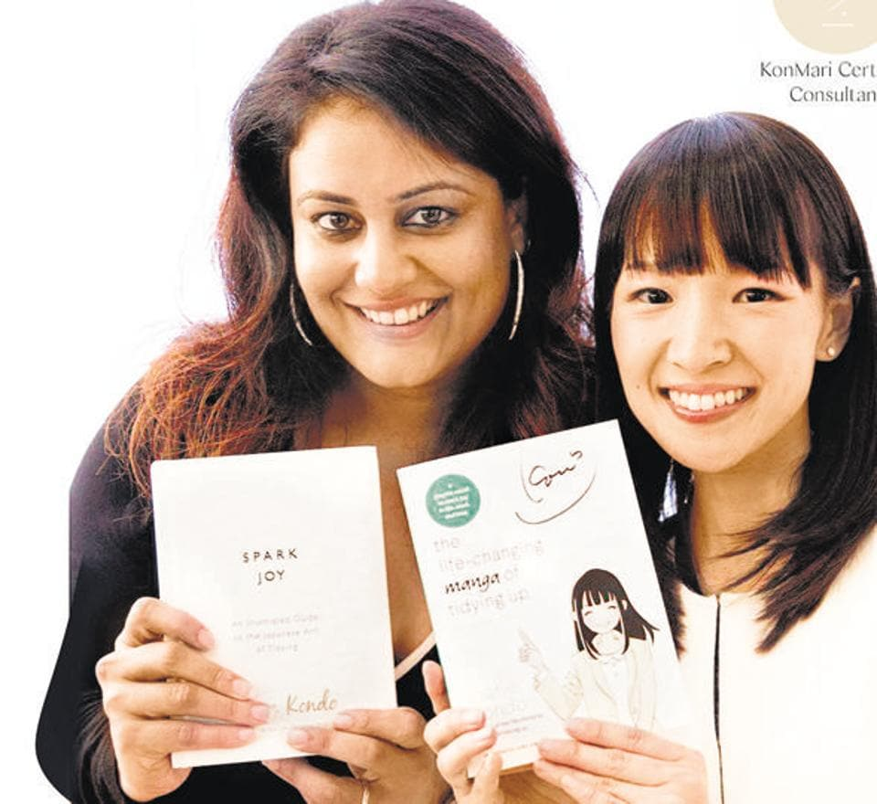 Gayatri Gandhi, India's first certified KonMari consultant, with Marie Kondo, the popular declutter expert.