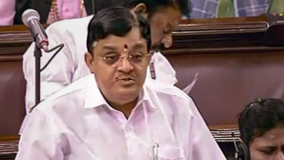 Outgoing AIADMK MP V Maitreyan gives his farewell speech in the Rajya Sabha.