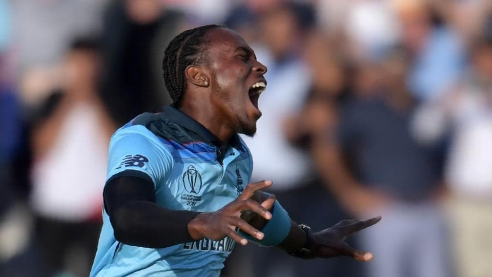 England's Jofra Archer celebrates after victory in the 2019 Cricket World Cup final.