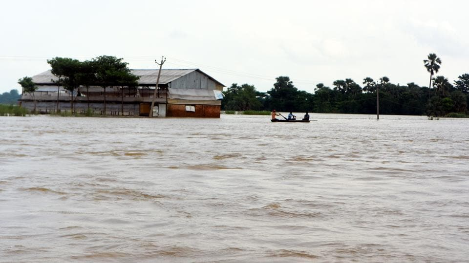 Floods effected area after heavy rainfall in Darbhanga district in on Thursday.