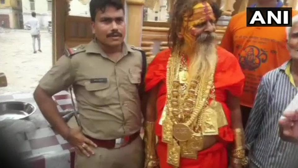 This baba wearing kilos of gold ornaments has become a centre of attraction.