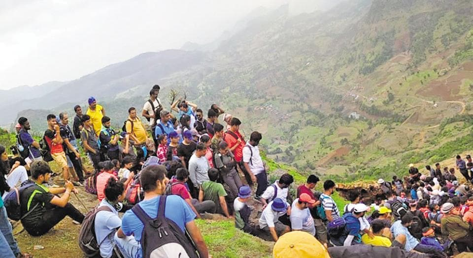 A large group of trekkers seen at Harihar fort, located 40km from Nashik city.