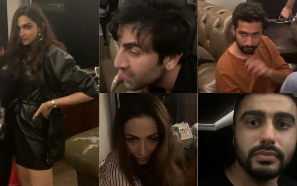 Deepika Padukone, Ranbir Kapoor, Vicky Kaushal, Malaika Arora and Arjun Kapoor at Karan Johar's house party.