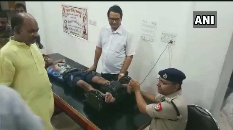 Shamli's Superintendent of Police, Ajay Kumar was seen giving foot massage to kanwariyas  at a health camp.