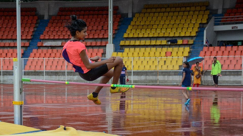 Nalini Pillay in action during the girls under-16 high jump at Pune District Junior Athletics Championship at Shiv Chhatrapati Sports Complex Balewadi in Pune, India, on Saturday.