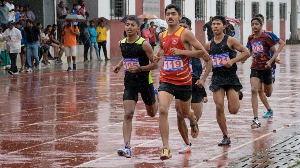 Ronak Kumar (in red) in action during boys under-16 800 metre run at Pune District Junior Athletics Championship at Shree Shiv Chhatrapati Sports Complex Balewadi in Pune, India, on Saturday, July 27, 2019.