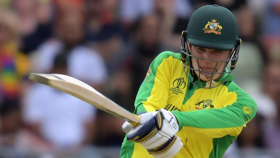 Australia's Alex Carey plays a shot during the 2019 Cricket World Cup second semi-final between England and Australia.
