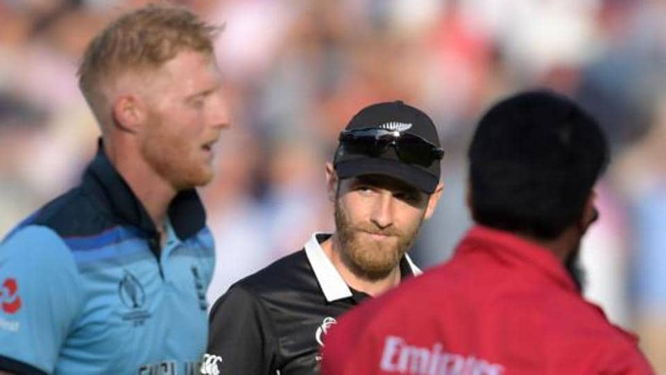 New Zealand's captain Kane Williamson looks towards England's Ben Stokes at the 2019 Cricket World Cup final between England and New Zealand at Lord's.