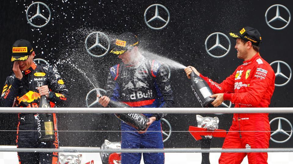 Race winner Max Verstappen of Red Bull celebrates.