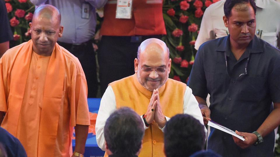 Union Home Minister Amit Shah and Uttar Pradesh Chief Minister Yogi Adityanath during the groundbreaking ceremony of projects worth Rs 65,000 crore at Indira Gandhi Pratishthan,in Lucknow on Sunday.