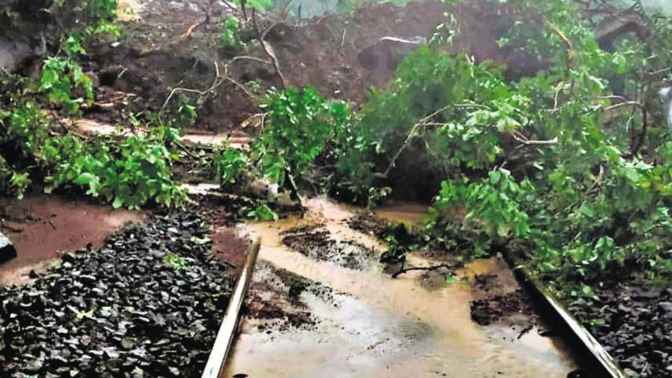Railway traffic was disrupted due to land slide at Khandala ghat on Saturday.