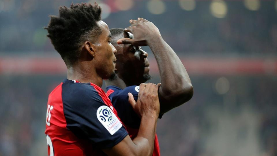 Lille's Nicolas Pepe celebrates.