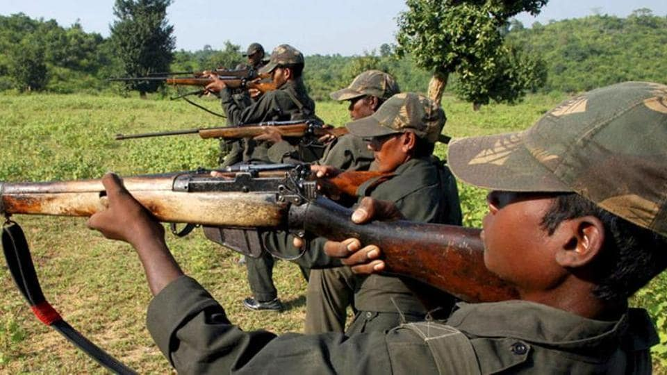 Maoist rebels being trained.