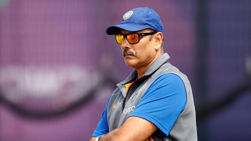 India coach Ravi Shastri during nets at the Cricket World Cup.