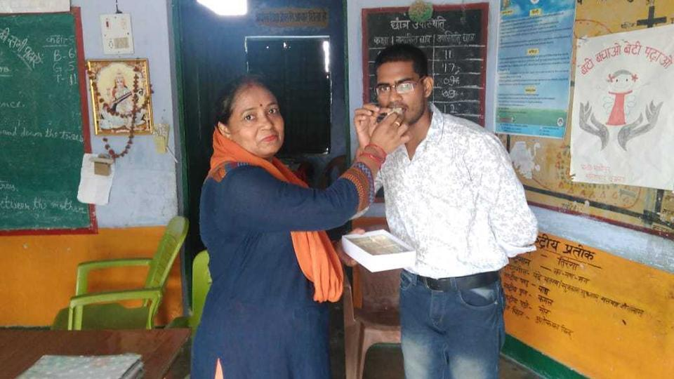 Akash visited his alma mater after returning to his village