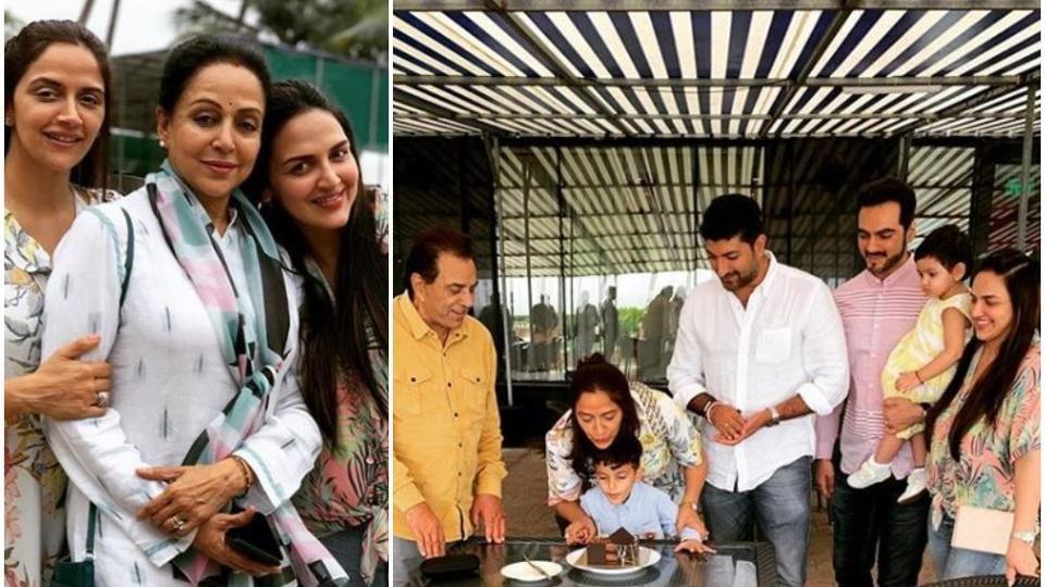 Esha Deol shared photos featuring Dharmendra and Hema Malini from sister Ahana's birthday party onSunday.