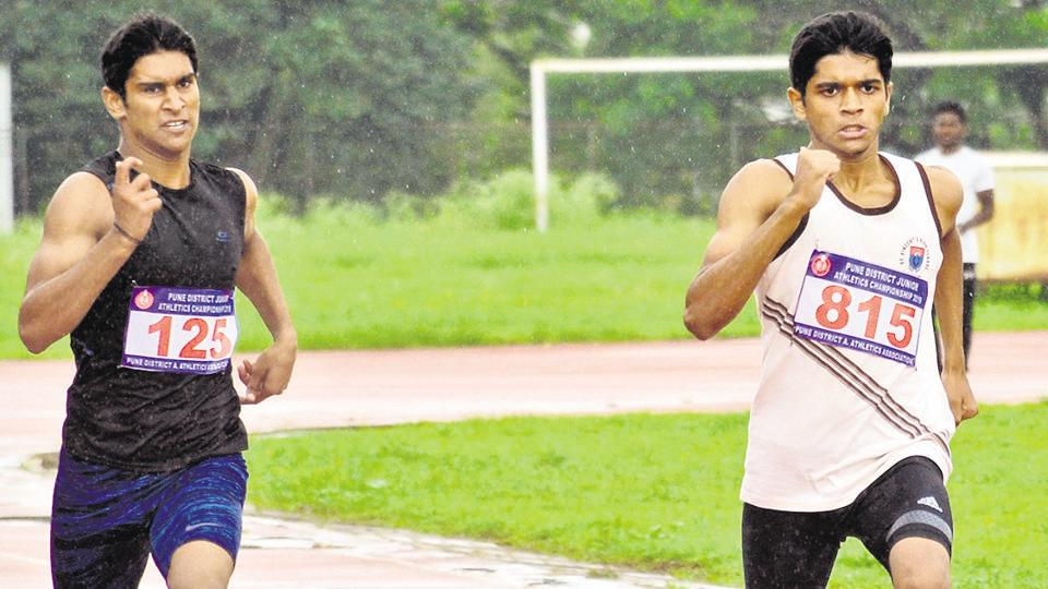 Akshay Govardhan (in white) in action during the boys under-18 400 metre run at Pune District Junior Athletics Championship at the Shiv Chhatrapati Sports Complex Balewadi in Pune, India, on Sunday, July 28, 2019.