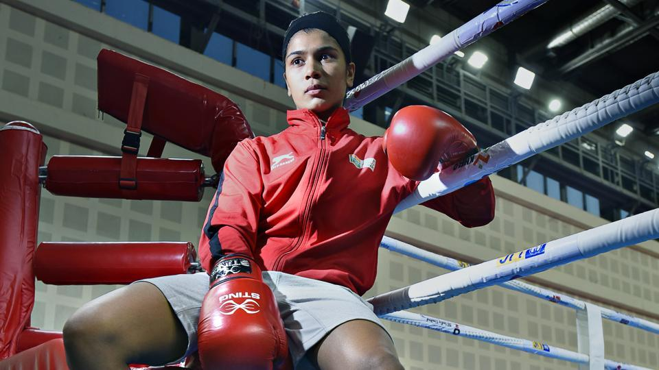:Indian woman boxer Nikhat Zareen at Indira Gandhi Indoor Stadium, New Delhi.  Women across the world are fighting for equal rights, the freedom to make choices and so much more.