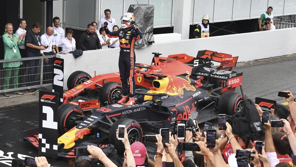 Red Bull driver Max Verstappen of the Netherland's celebrates after he won the German Formula One Grand Prix at the Hockenheimring racetrack in Hockenheim, Germany, Sunday, July 28, 2019