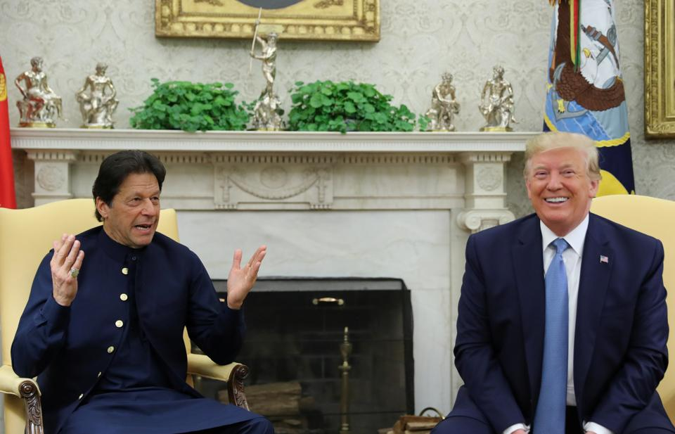 Pakistan's Prime Minister Imran Khan meets with U.S. President Donald Trump in the Oval Office of the White House in Washington on July 23, 2019.