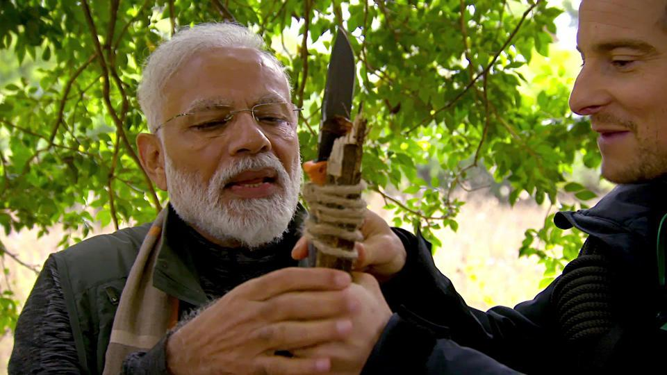 Prime Minister Narendra Modi on Monday thanked 'Man Vs Wild' host Bear Grylls for coming to India.
