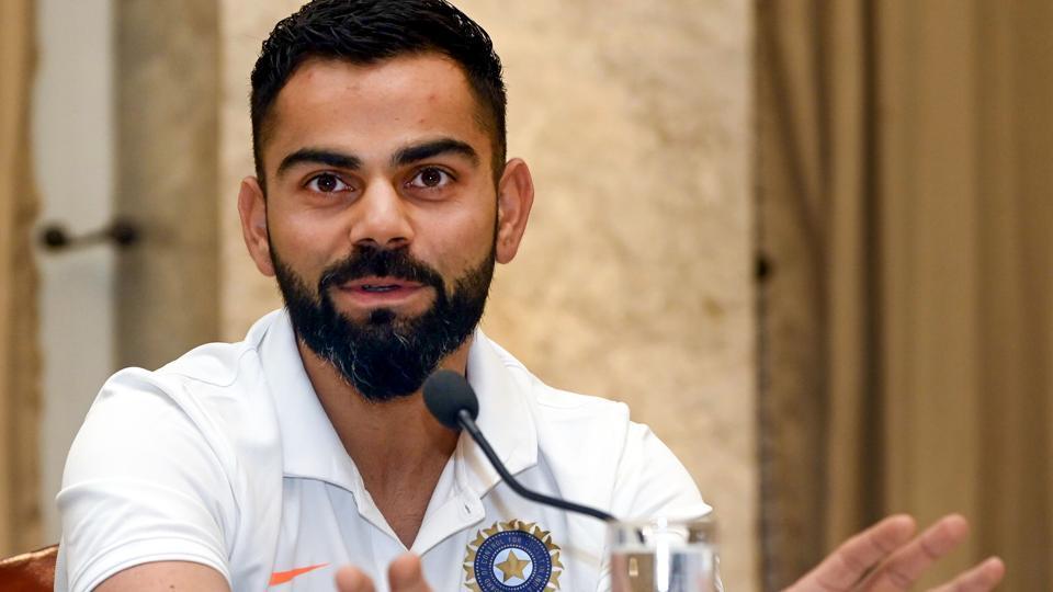 Indian cricket Captain Virat Kohli addresses a pre-departure press conference in Mumbai.