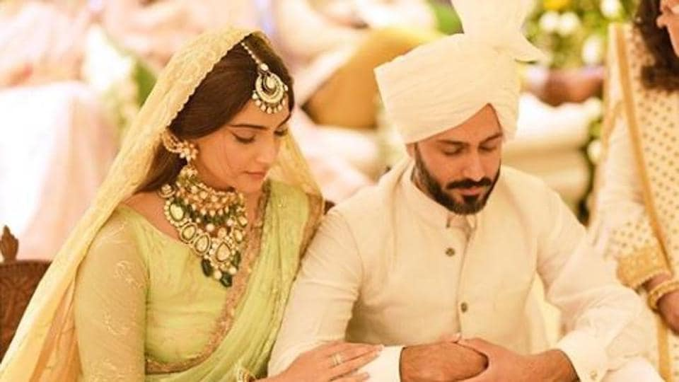 Sonam Kapoor and Anand Ahuja during their wedding on 2018.