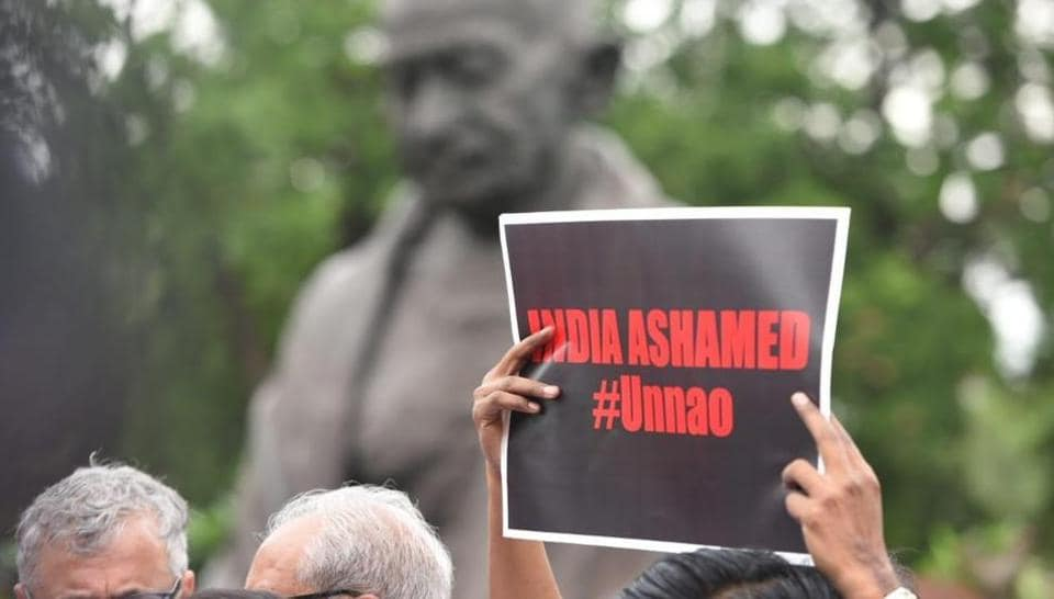 Opposition parties on Tuesday protesting against Unnao rape survivor's accident.