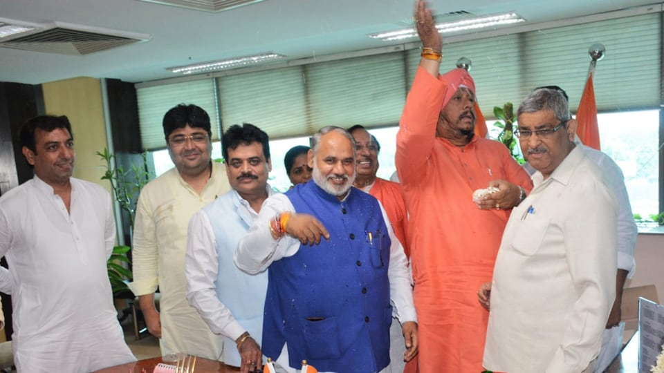 Mayor Avtar Singh on Tuesday sprinkled water from the Ganga on different floors of the civic centre.