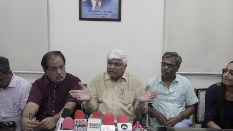 Cabinet Minister Govt. of NCT of Delhi, Rajendra Pal Gautam addresses a press conference in New Delhi.