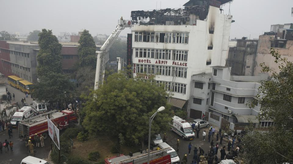 Firefighters seen outside Hotel Arpit Palace after a massive fire broke out at the hotel, at Karol Bagh, in New Delhi earlier this year.