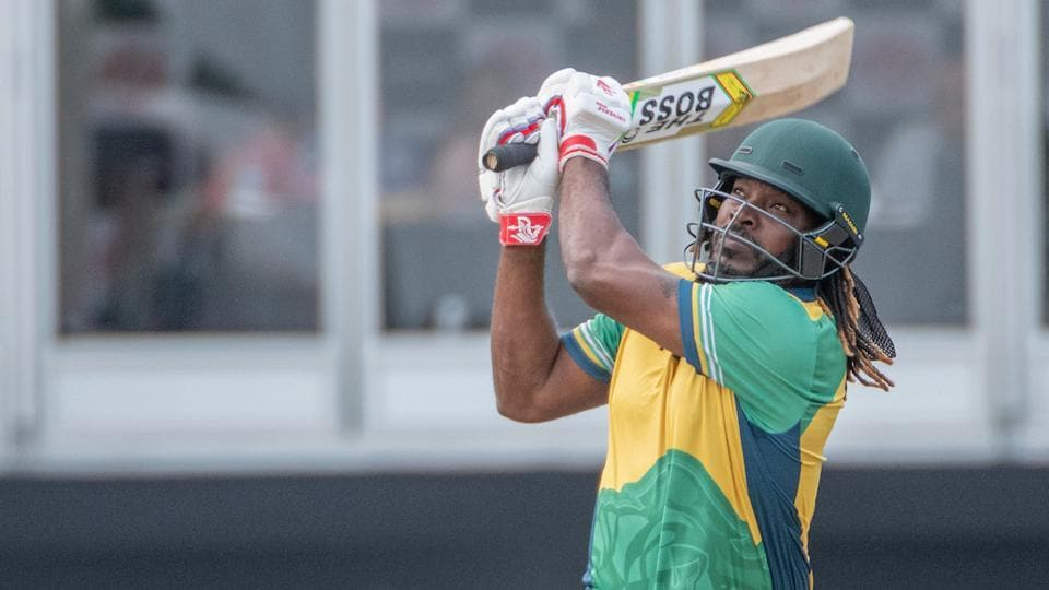 Chris Gayle of Vancouver Knights bats during match 8 of GT20 tournament.