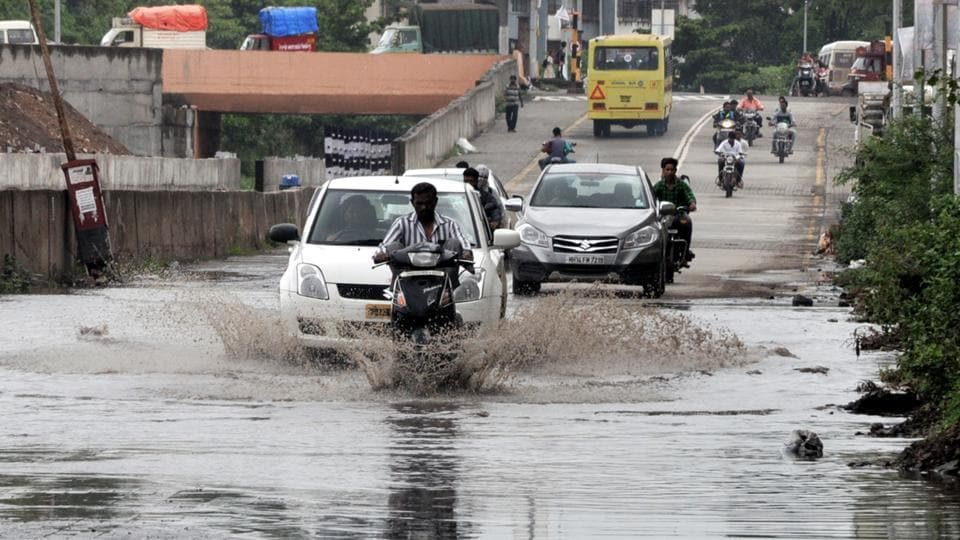 Rain in Dhayari on Sinhgad road in Pune.