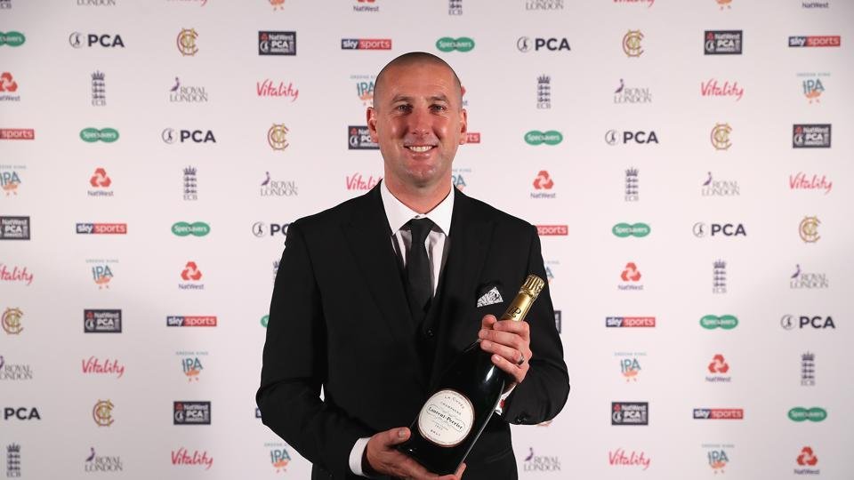 Michael Gough with his PCA Umpire of the Year award during the NatWest PCA Awards at The Roundhouse on October 4, 2018 in London, England.