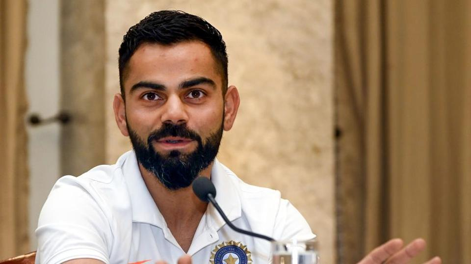 Indian cricket Captain Virat Kohli addresses a pre-departure press conference in Mumbai