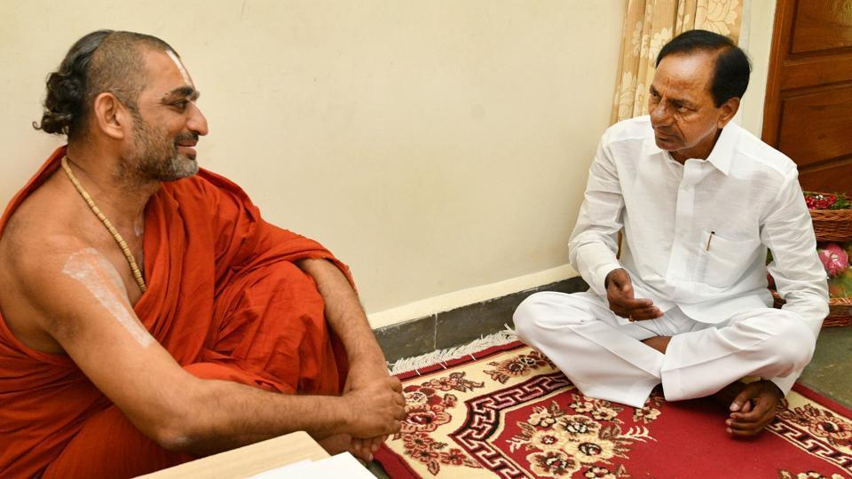 KCR meets Sri Chinna Jeeyar Swamy at his ashram to discuss the arrangements for mega yagam.