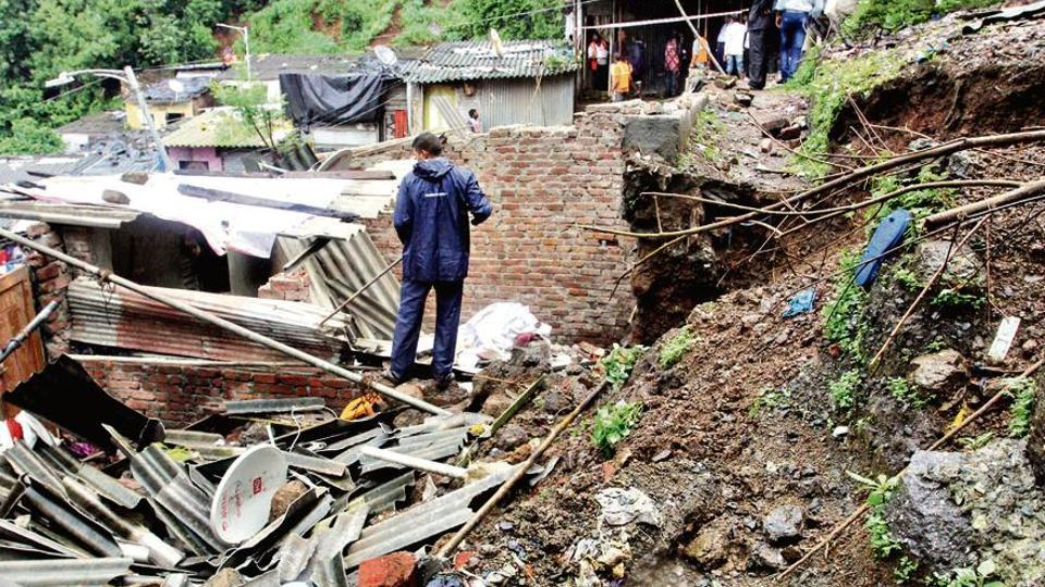 A father and son died in the landslide at Adarsh Chawl in Atkoneshwar Nagar, Kalwa, on Tuesday. The forest department had sent notices to the chawl residents to vacate the landslide-prone area.