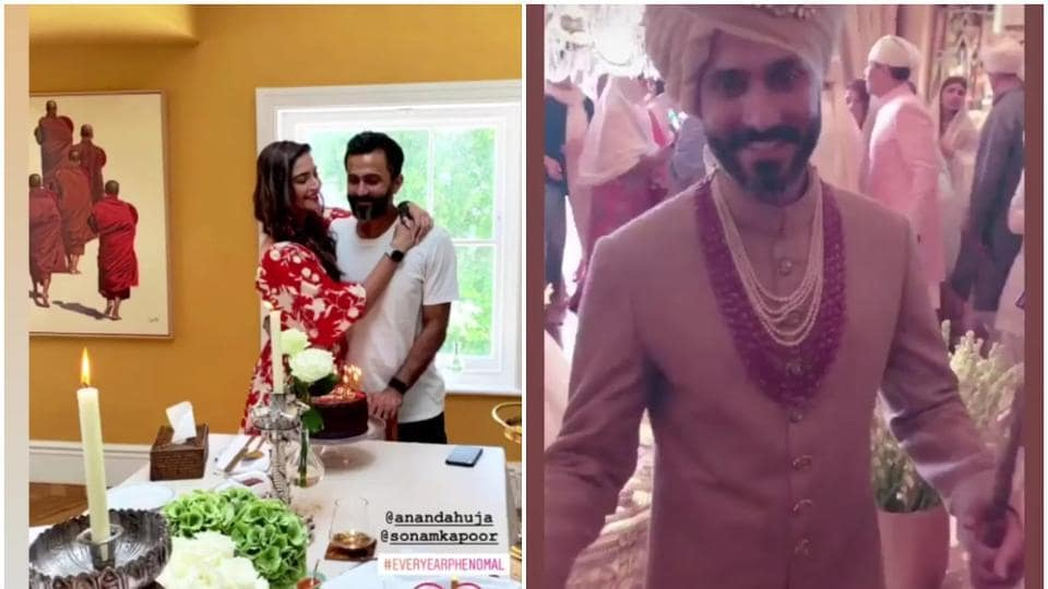 SonamKapoor has shared new pictures from Anand Ahuja's birthday celebration onTuesday.