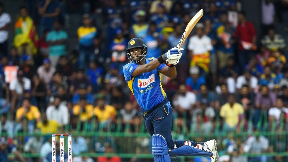 Sri Lankan cricketer Angelo Mathews plays a shot during the third one day international (ODI) cricket match between Sri Lanka and Bangladesh.