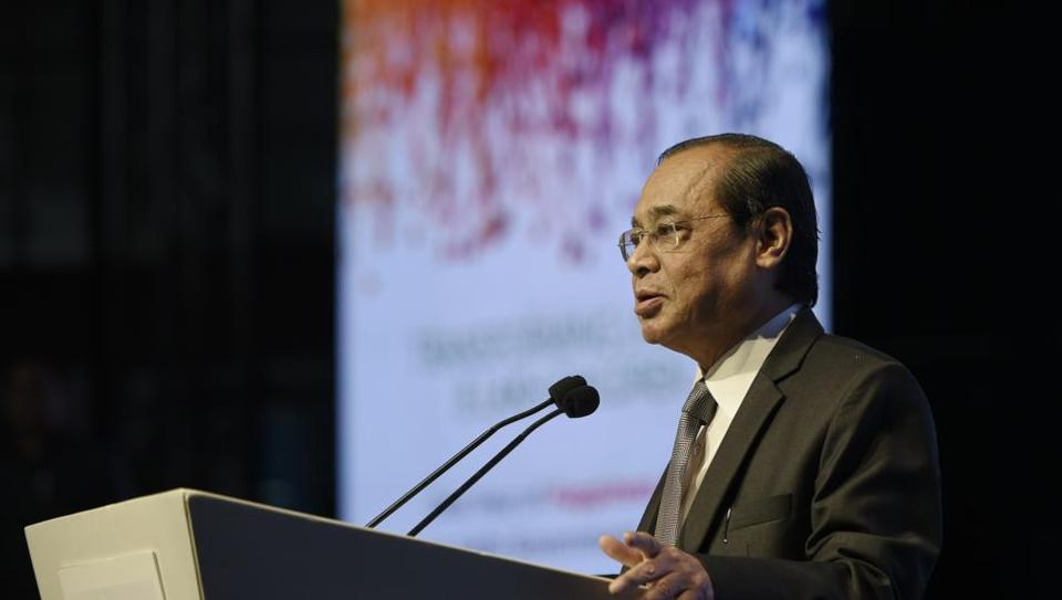 Chief Justice of India Ranjan Gogoi addresses the audience during the Happiness Education Conference, at Talkatora Stadium, in New Delhi on Wednesday, July 31, 2019.  The CJI has asked the secretary general of the Supreme Court to explain the events that led to the letter not being placed before him.