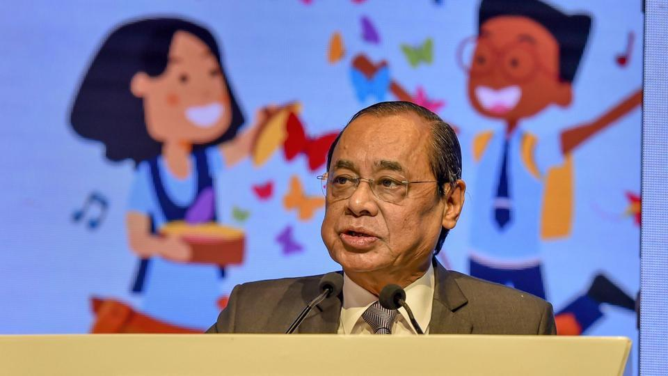 Chief Justice of India Ranjan Gogoi addresses the Happiness Education Conference 2019, in New Delhi, Wednesday, July 31, 2019.