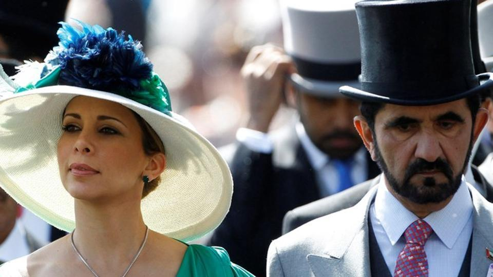 File photo of  Jordanian Princess Haya bint Al-Hussein and her husband, Dubai ruler Sheikh Mohammed bin Rashid al-Maktoum (R).