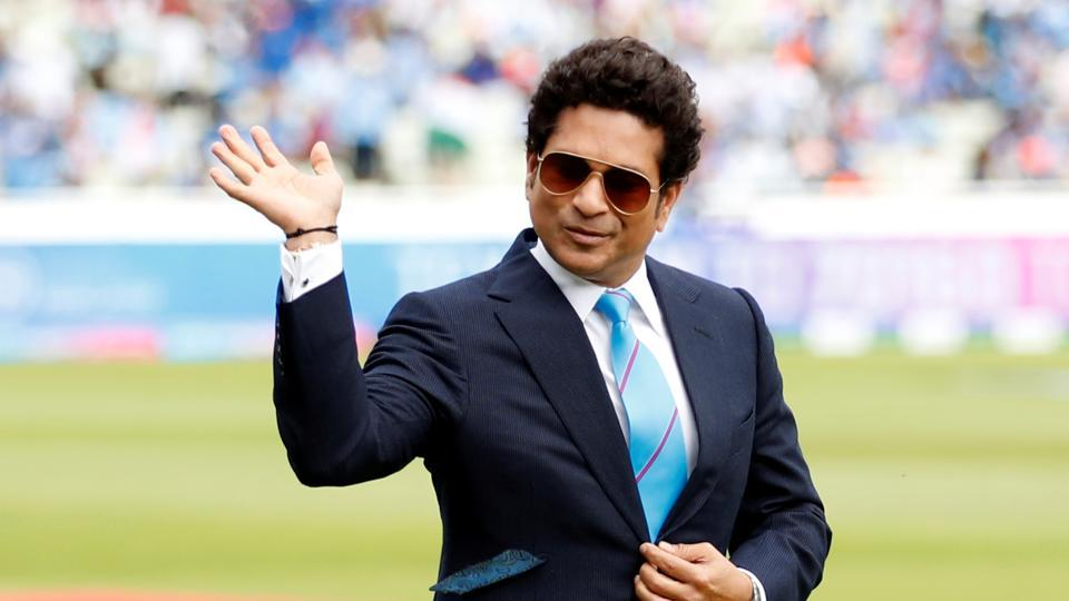 Sachin Tendulkar on the pitch at the 2019 Cricket World Cup.