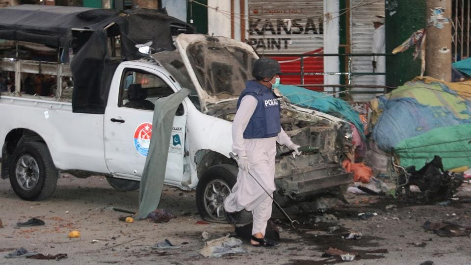 A powerful blast targeting a police vehicle in Pakistan's restive Balochistan province has killed five people, including two security personnel, and injured 38 others.