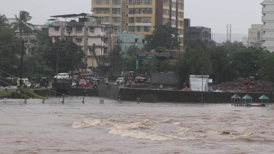The Ulhas river overflowing due to heavy rain in Kalyan, Maharashtra, on Tuesday. July 30.2019.