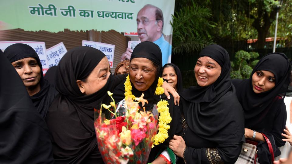 Women celebrate the passing of the triple talaq bill. The law is not to punish the man, but ensure fair play to the victim woman