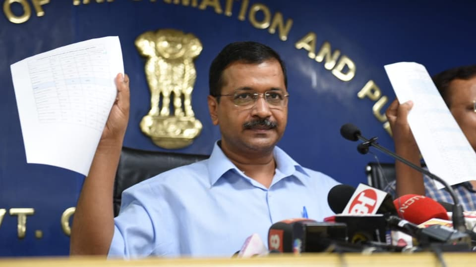 Delhi Chief minister Arvind Kejriwal announcing the new electricity tariff plan in on Thursday.