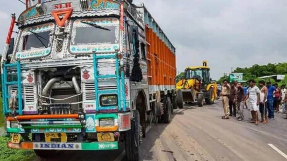 The truck that rammed into a car carrying Unnao rape victim, her relatives and her lawyer.