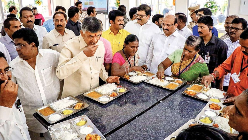 "Anna canteens, named after former chief minister and Telugu Desam Party founder N T Rama Rao who was fondly called as ""Anna"" (elder brother), were first started on pilot basis in Amaravati in June 2016."