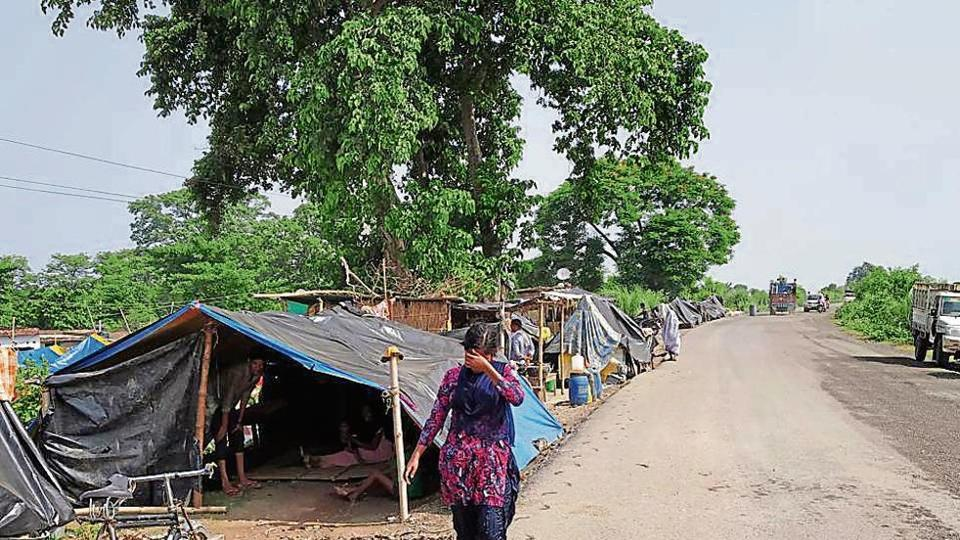 Many people affected by floods in Bihar's East Champaran district continue living in roadside camps as their houses are still submerged or badly damaged.